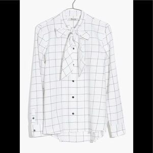 Madewell Flannel tie neck shirt